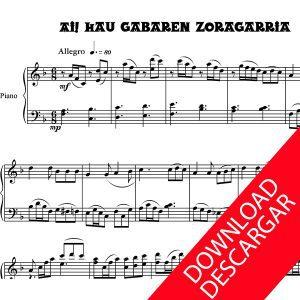 Ai, Hau Gabaren zoragarria - Partitura Piano