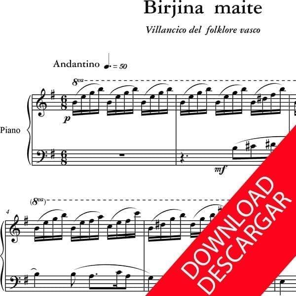 Birjina Maite - Partitura para Piano - Arreglo de Yuri Pronin