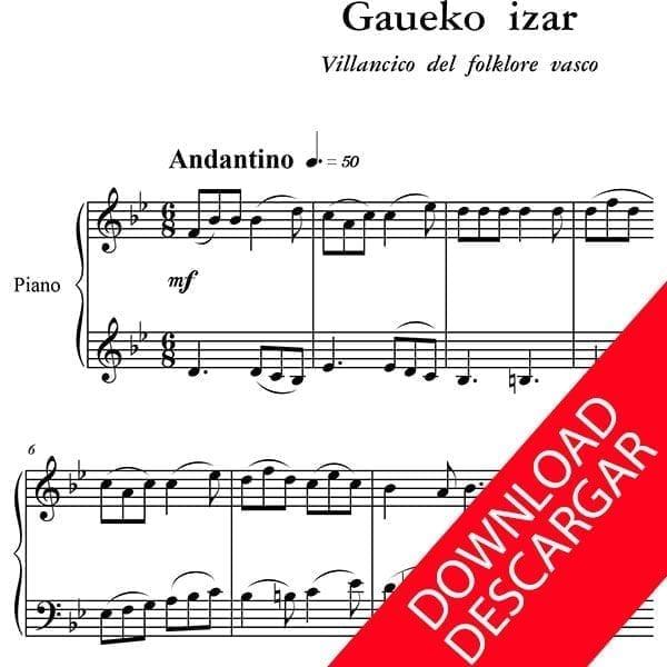 Gaueko izar - Partitura para Piano - Arreglo de Yuri Pronin