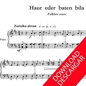 Haur eder baten bila - Partitura para Piano - Arreglo de Yuri Pronin