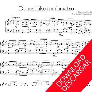 Donostiako hiru damatxo Piano Partitura pdf descargar