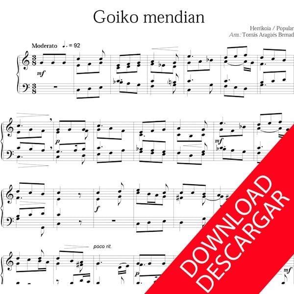 Goiko mendian Piano Partitura descargar