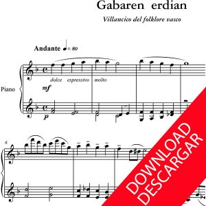 Gabaren erdian - Partitura para Piano