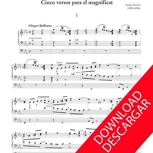 Cinco versos para el Magnificat - Felipe Gorriti- Órgano - Partitura descargar