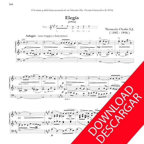 Elegía - Nemesio Otaño - Partitura - Órgano