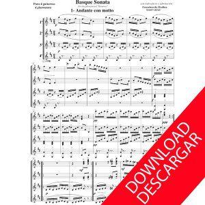 Basque sonata para cuatro guitarras - Aita Madina - Partitura