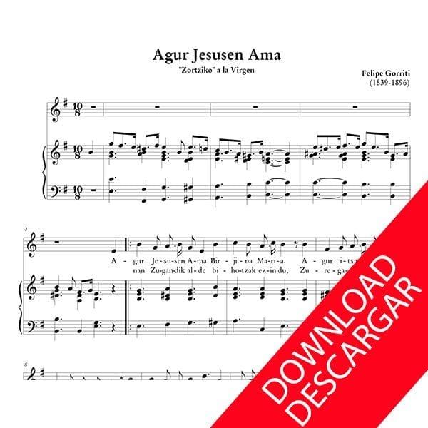 Agur Jesusen Ama- Partitura en PDF de Felipe Gorriti para Canto y Órgano