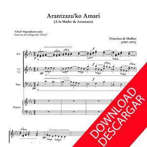Arantzazuko Amari - Aita Madina - Partitura para CORO y ÓRGANO