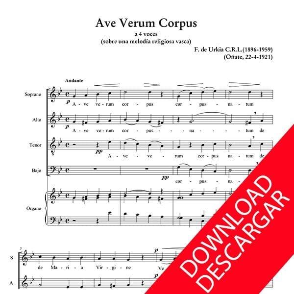 Ave Verum Corpus - Fernando de Urkia - Partitura para Coro y Órgano