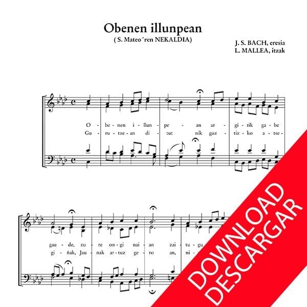 Obenen illunpean - Bach - Luis Mallea - Partitura para Coro