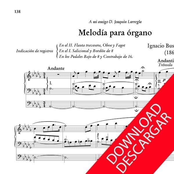 Melodía para órgano - Ignacio Busca de Sagastizabal - Partitura para órgano