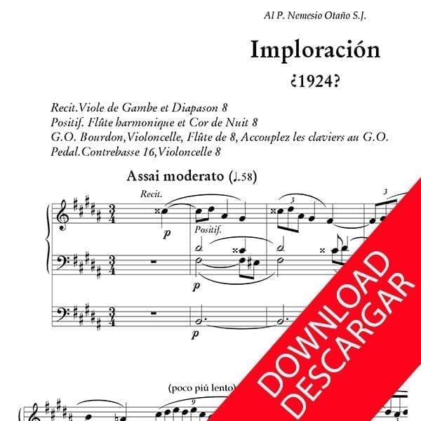 Imploración - Bernardo Gabiola - Partitura para Órgano