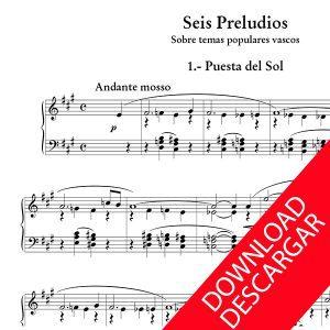 Seis Preludios sobre temas populares vascos para Órgano - Partitura para Órgano