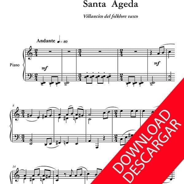 Santa Ageda - Partitura para Piano - Yuri Pronin