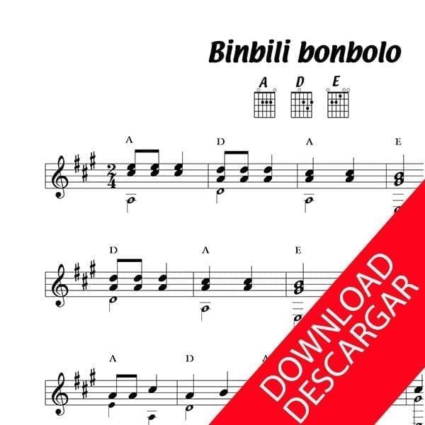 Binbili bonbolo Partitura para Guitarra