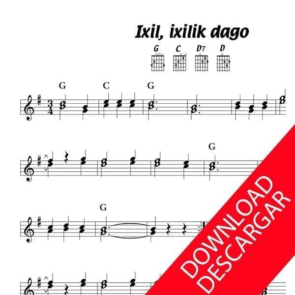 Ixil ixilik dago - Partitura para GUITARRA