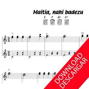 Maitia nahi baduzu - Partitura para Guitarra