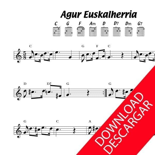 Agur Euskalherria - Partitura para Guitarra