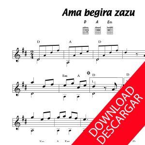 Ama begira zazu - Partitura para Guitarra