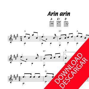 Arin arin - Partitura para Guitarra