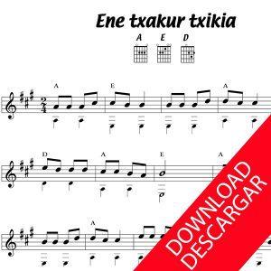 Ene txakur txikia - Partitura para Guitarra