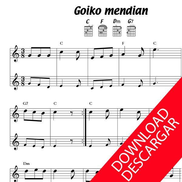 Goiko mendian - Partitura para Guitarra