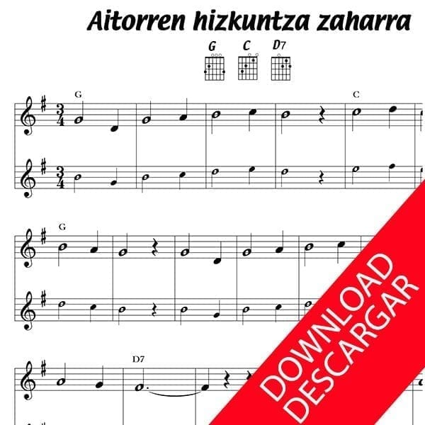 AITORREN HIZKUNTZ ZAHARRA - Partitura para Guitarra
