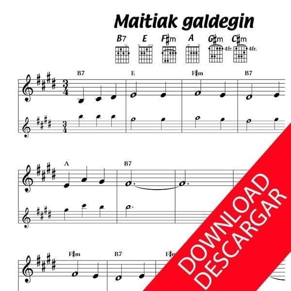 Maitiak galde egin zautan - Partitura para Guitarra