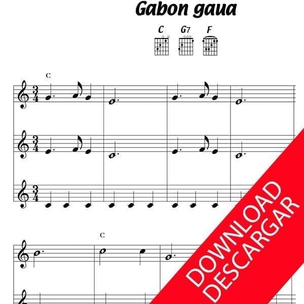 Gabon gaua - Partitura para Guitarra