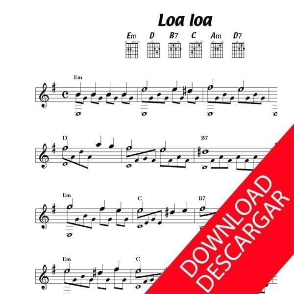 Loa loa - Partitura para Guitarra