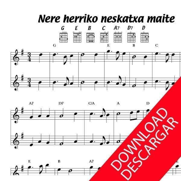 Nere herriko neskatxa maite - Partitura para Guitarra