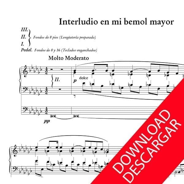 Interludio en Mi b Mayor - Jesús Guridi - Partitura para Órgano