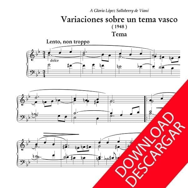 Variaciones sobnre un tema vasco - Jesús Guridi - Partitura para Órgano