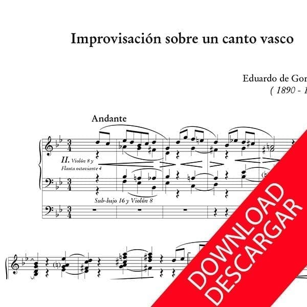 Improvisación sobre un canto vasco - Eduardo de Gorosarri - Partitura para Órgano