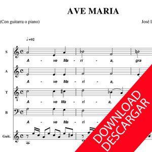 Ave Maria - José Luis Fernández Coll - Partitura para Coro y guitarra