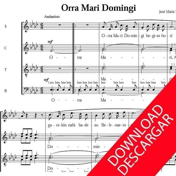 Orra Mari Domingi - José María Usandizaga - Partitura para Coro