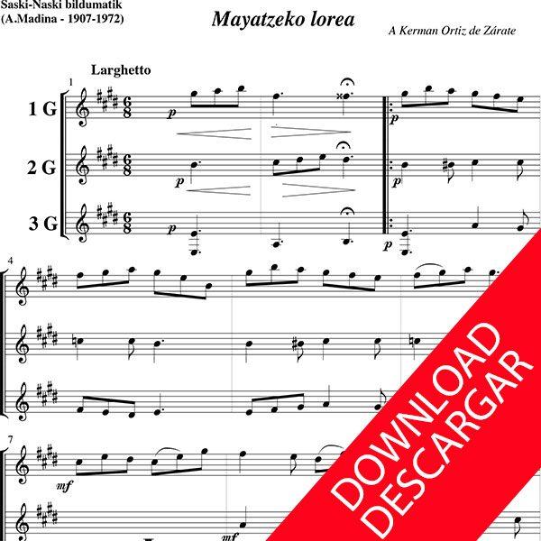 Mayatzako lorea - Aita Madina - Partitura Completa para 3 guitarras en descarga PDF