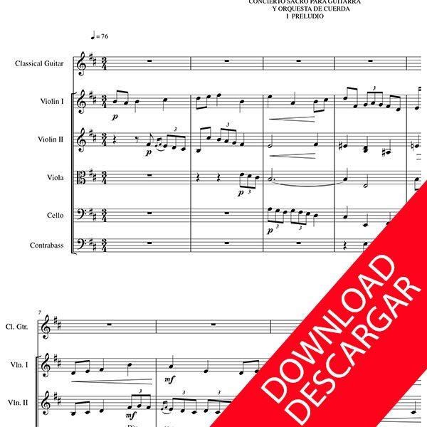 Concierto Sacro para Guitarra y Orquesta de Cuerda - Aita Madina - Partitura PDF