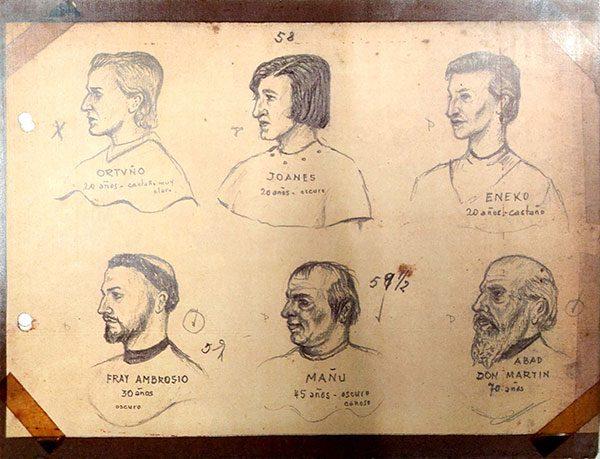 Bocetos de Luis Mújica de representaciones de Saski naski