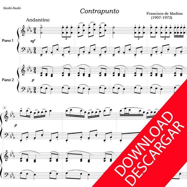Contrapunto. Suite de danzas vascas - Partitura para 2 pianos - Aita Madina