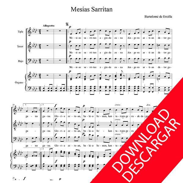 Mesias sarritan - Bartolomé de Ercilla - PARTITURA COMPLETA GRATIS en PDF