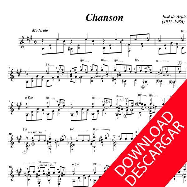 Chanson pour la guitare - José de Azpiazu - Partitura para guitarra