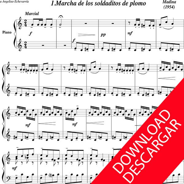 Partitura Txantxikukeriak - Aita Madina - Piano