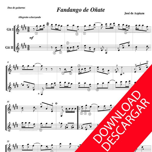 FANDANGOA ETA GIGA - José de Azpiazu - PARTITURA PDF