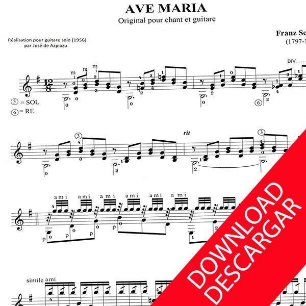 Ave Maria Schubert - ARREGLO GUITARRA - PARTITURA GRATIS PDF