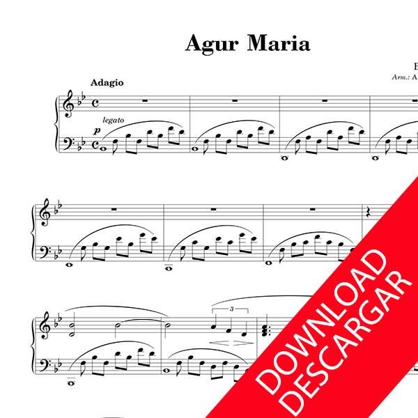 AGUR MARIA - ESTITXU - PIANO-RAKO PARTITURA - Aitor Amezaga moldaketa