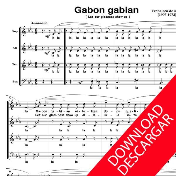 Euskal Gabon kantak - AITA MADINA - PARTITURA para CORO MIXTO SATB