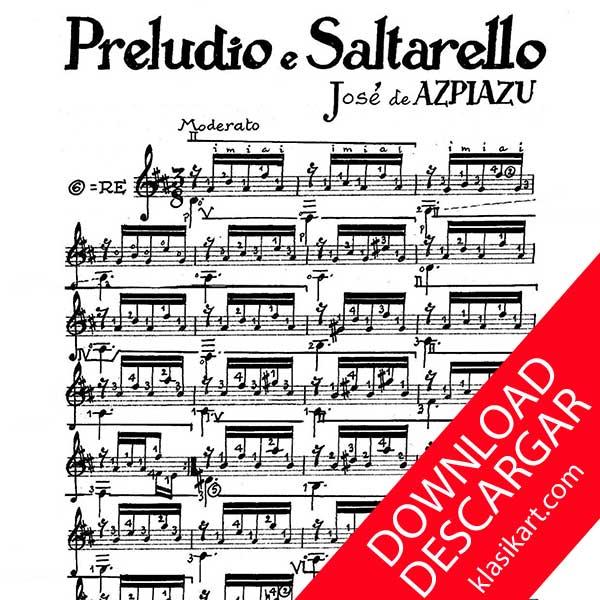 Preludio e Saltarello - JOSÉ DE AZPIAZU - PARTITURA para GUITARRA en PDF