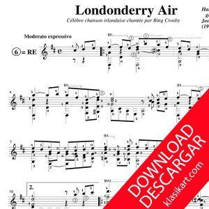 Londonderry air - Arreglo para guitarra - Partitura PDF - José de Azpiazu