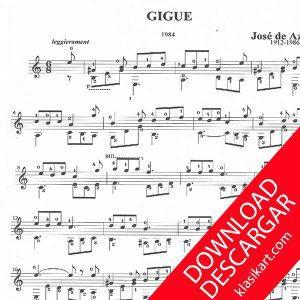 Giga para GUITARRA de José de Azpiazu. PARTITURA GRATIS en PDF